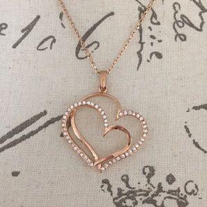 Rose Gold Gem Embellished Double Heart Necklace